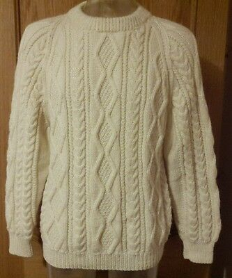 Mens Womens Vintage Natural Cream Hand Knitted Aran Slouch Jumper Pure Wool Med