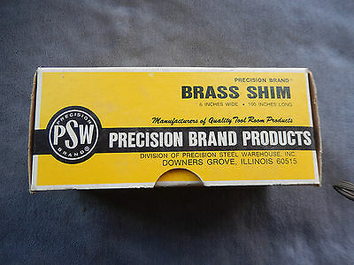 Brass Shim stock, Precision Brand Products, 6 inches x 100 inches