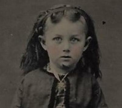 Tintype Photo #t339     Cute Young Girl - Nice Hair Dress & Boots