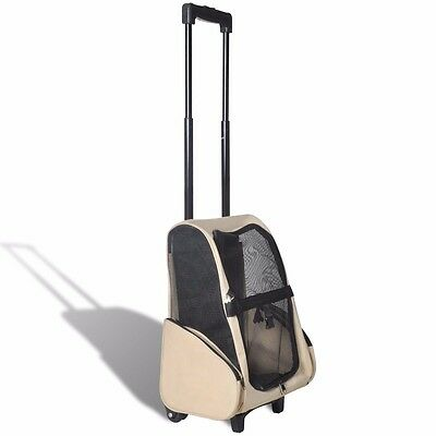 Backpack Pet Dog Cat Puppy Carrier Travel Rolling Trolley Bag Wheels Beige