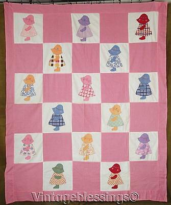"Adorable VINTAGE 30s Applique Sunbonnet Sue QUILT TOP Coverlet 85"" x 70"""