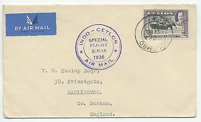 1936 Special Flight Cover Ceylon To Gb Tata / Imperial Airways