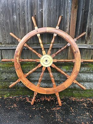 """Large 72"""" Wood And Brass Ship Wheel -nautical- Local Pickup Only"""