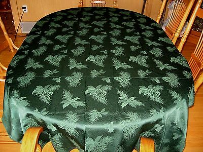 "Holiday/ Christmas Tablecloth - Pinecones  - Christmas Green -   80"" By 56"""