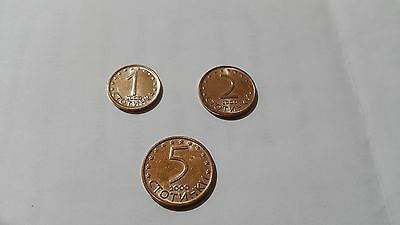 Set of 1, 2 and 5 stotinki Bulgarian coins, year 2000
