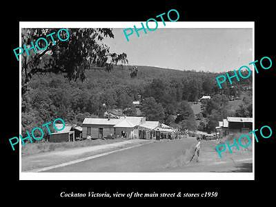 OLD LARGE HISTORIC PHOTO OF COCKATOO VICTORIA, THE MAIN St & STORES c1950