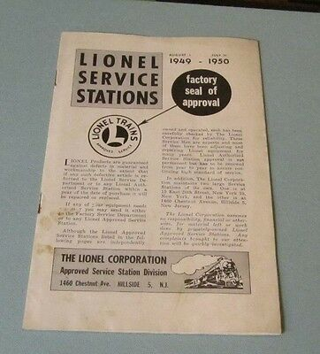 1949 1950 Lionel Trains Approved Service Stations Booklet Cuba Iran US Pakistan