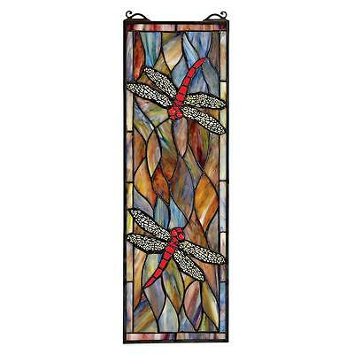 "21.5"" Mosaic Dragonflies in Autumn Hand Crafted Stained Glass Window Panel"