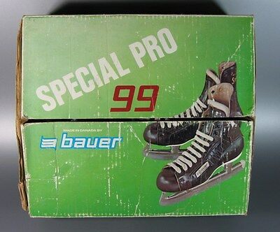 Vintage bauer Special Pro 99 Ice Skates Black w/ Brown Brogue Size 8 Canada NHL
