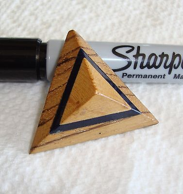 """Vintage Layered Wood Pyramid Button 1 7/16"""""""