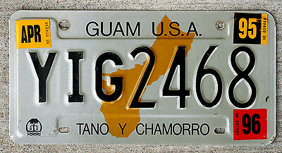 "Guam U.S.A. License Plate ""Tano Y Chamorro"" with 1995 and 1996 Stickers"