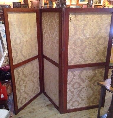 Vintage Antique Mahogany Tri Fold  Screen Room Divider Gold Fabric