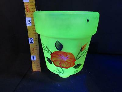 """3 1/4"""" Candle Holder Painted Flower Shade Yellow/green Vaseline Glass Depression"""