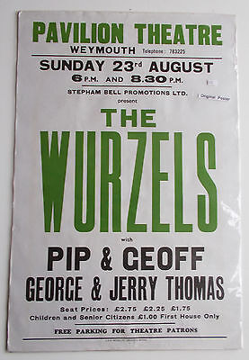 The WURZELS  Original   Concert  poster Weymouth Pavilions 1980s