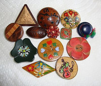 Lot of 13 Vintage Wood Buttons