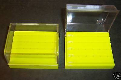2 sets Dental  Bur Block Holder Station with Lid Plastic Holds 24  Burs