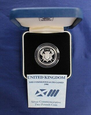 """1986 Silver Proof £2 coin """"Commonwealth Games"""" in Case with COA   (Y3/43)"""
