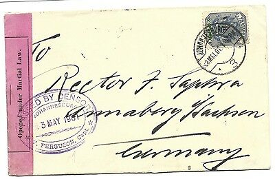 Boer War Mail Cover of Note - To Germany - Opened Under Martial Law
