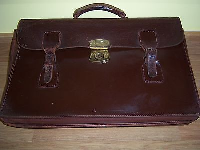 Vintage Brown Leather Music Bag/satchel/document Case With 3 Compartments