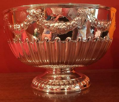 Large Victorian silver punch bowl with festoons London 1898