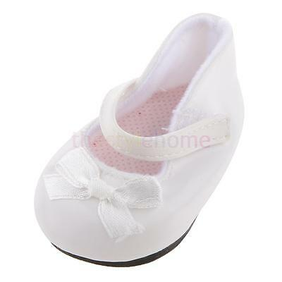 Handmade Fashion White Shoes with Bow for 18 inch American Girl Doll Accs