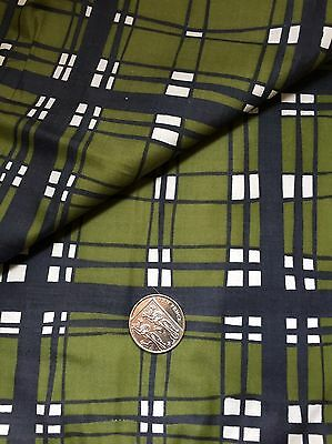 Vintage 1950s Cotton Fabric Green Check 3.5m