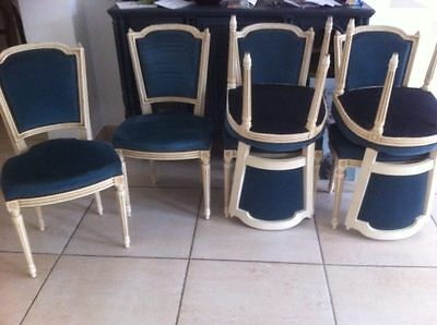 CHAISES LOUIS XVI velour bleu TBE lot de 6