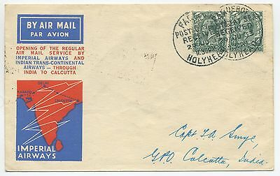 1933 Imperial Airways First Flight Cover Gb To India Paquebot Posted At Sea