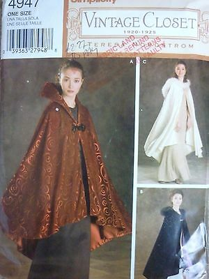 Simplicity Vintage Closet Capes Sewing Dressmaking Pattern