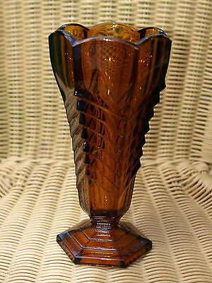 Chevron Davidson ? brown tall glass vase 1930s deco
