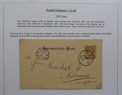 Austria. Fine stationery card sent from Vienna to Kormend, Hungary. 1889.