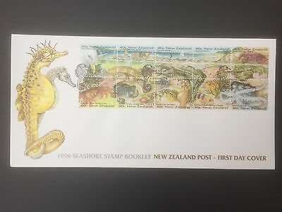 NEW ZEALAND, 1996, First day Cover, Seashore Stamp Booklet, Cancelled Wanganui