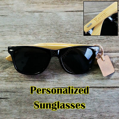 Personalized Engraving Bamboo Wood UV400 Sunglasses Groomsmen Birthday Xmas Gift