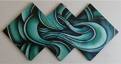 "Hand Painted Oil Painting Canvas Modern Abstract Wall Blue Aqua Swirl /""FRAMED"""
