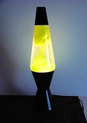 "Vintage Art Deco Lava Lamp 14.25"" High 3.5"" Base Black w Green"
