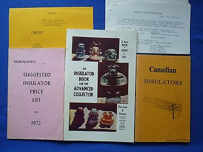 Vintage LOT of 3 BOOKS ON INSULATORS by Milholland, Hill, & Canadian INFO