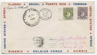 1941 Pan Am First Flight Cover Nigeria To Gambia