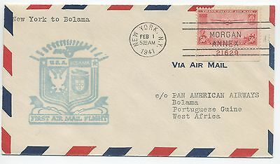 1941 Pan Am First Flight Cover Usa To Portuguese Guinea
