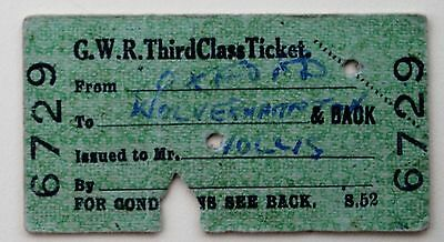 GWR 3rd class Pass from Oxford to Wolverhampton & back 1946