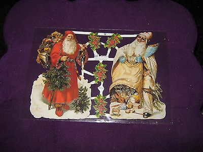 Vintage Style Die Cut  Paper Scraps  Christmas With Glitter