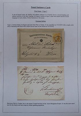 Austria. First issue German-Slovenian stationery card sent from Pola. 1872.