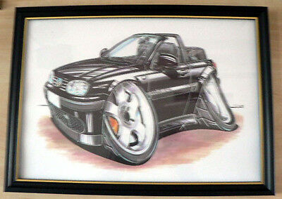 VW Golf Various Models And Styles  Framed Print A4 Caricature  Gift Present