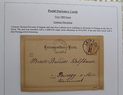 Austria. 1890 issue German-Slovenian stationery card sent from Laibach 1890