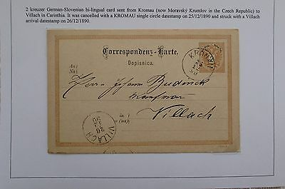 Austria. 1890 issue German-Slovenian stationery card sent from Kromau.