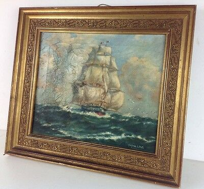 Antique Oil Painting Ship Trawling Sea Gilted Frame Vintage Oil Sailing Nautical