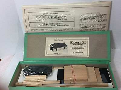 O Scale 2-Stall Engine House Wood Kit By San Juan Engineering - 1975 - Vintage