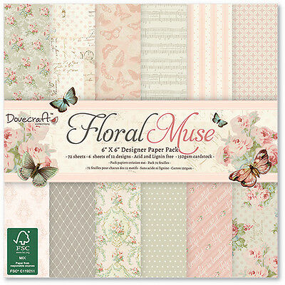 """FLORAL MUSE  - TASTER PACK 6""""x6"""" PAPERS - DOVECRAFT"""