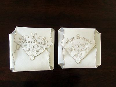 Set of Vintage Hot Roll & Biscuit Cover,  Ivory Linen with Taupe Embroidery, EUC
