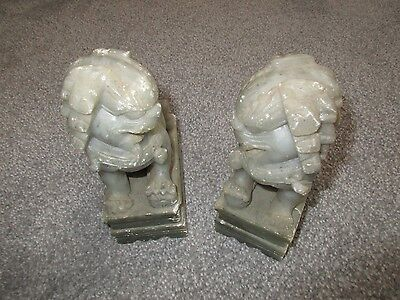 *Pair of Vintage Chinese Carved Stone Figures / Bookends ~ Foo Dogs