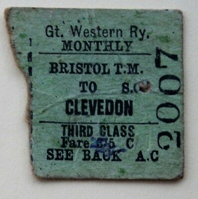 GWR 3rd class monthly return half from Bristol T.M. to Clevedon